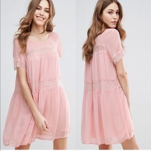French Connection Blush Babydoll w/Lace Accents